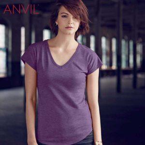 ANVIL 6750VL 女裝混紡 V 領 T 恤